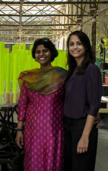 Media Preview for the BMW Guggenheim Lab Mumbai on December 6, 2012 at the central Lab site, the Dr. Bhau Daji Lad Museum plaza: Lab Team members Trupti Amritwar Vaitla and Aisha Dasgupta. Photo: UnCommonSense