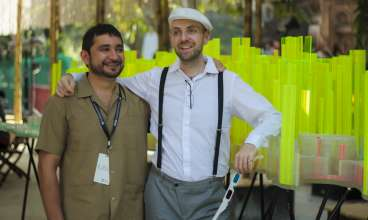 Media Preview for the BMW Guggenheim Lab Mumbai on December 6, 2012 at the central Lab site, the Dr. Bhau Daji Lad Museum plaza: Lab Team members Héctor Zamora and Neville Mars. 