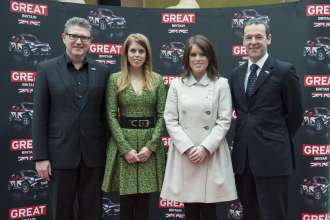 Graeme Grieve, Head of Sales MINI, Princess Beatrice and Princess Eugenie of York, Simon McDonald, British Ambassador in Germany. GREAT Britain MINI Tour in Berlin (01/2013)