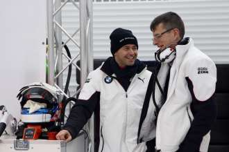 Valencia (ES) 24th January 2013. BMW Motorsport, Thomas Biagi (IT) and Chris Dyer (AU) Engineer. This image is copyright free for editorial use © BMW AG (01/2013).