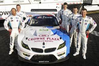 Daytona (US) 12th February 2013. BMW Motorsport, Bill Auberlen (US), Maxime Martin (BE), John Edwards (US), Dirk Mueller (DE) and Joey Hand (US) (From left to Right) BMW Team RLL. BMW Z4 GTE International Press Launch. This image is copyright free for editorial use © BMW AG (02/2013).