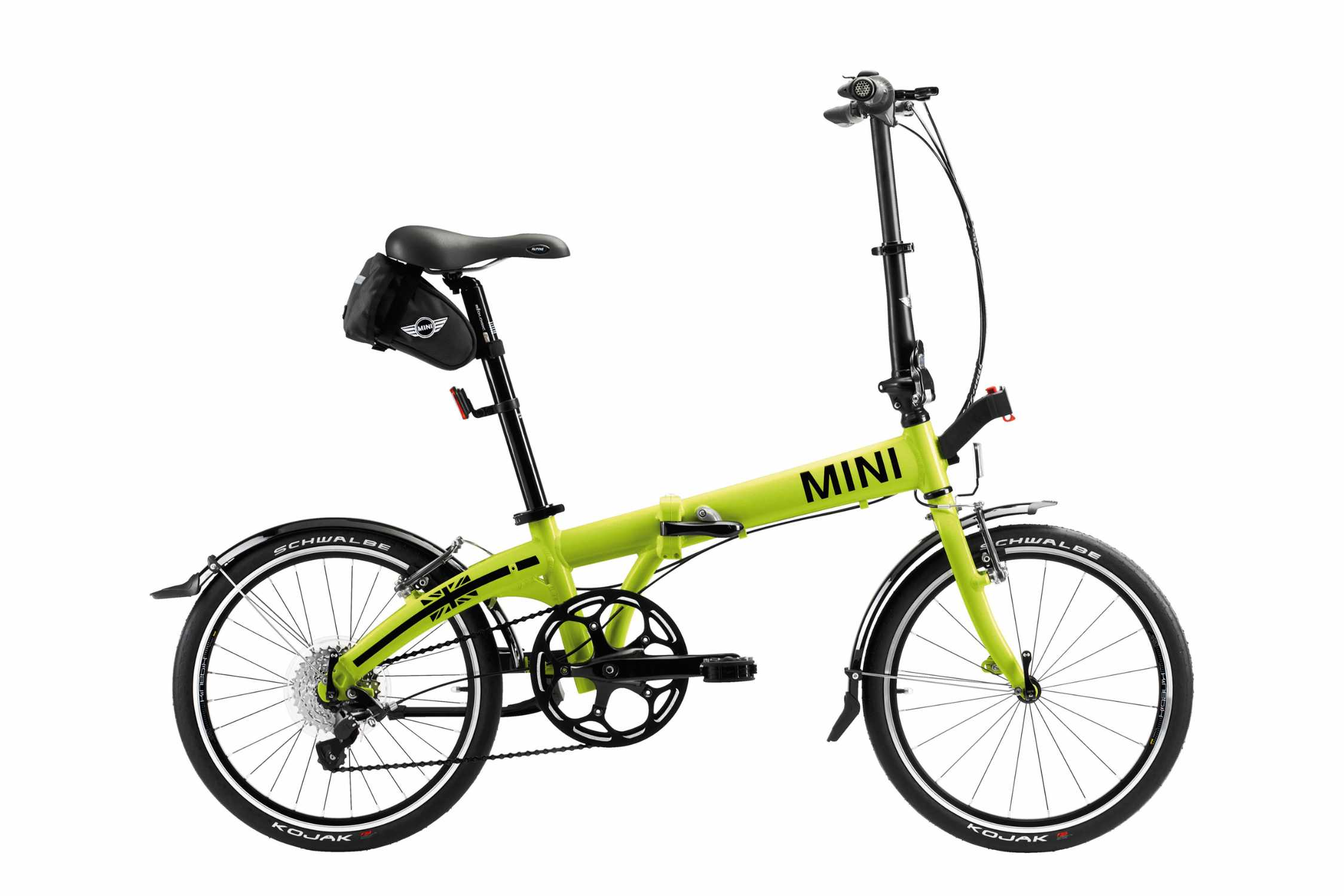 mini folding bike der neue mini zum falten knallgelbes klapprad mit cleverem zubeh r f r die. Black Bedroom Furniture Sets. Home Design Ideas