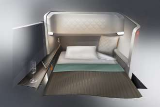 BMW Group DesignworksUSA for Singapore Airlines: The seat as luxurious bed. (07/2013)
