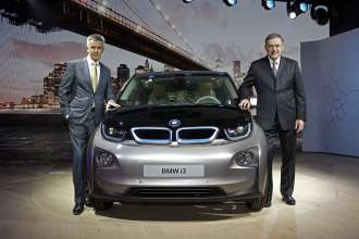 World premiere BMW i3 in New York City, USA - Dr. Norbert Reithofer, Chairman of the Board of Management of BMW AG; Peter Schwarzenbauer, Member of the Board of Management of BMW AG, MINI, BMW Motorrad, Rolls-Royce, Aftersales BMW Group (07/2013).