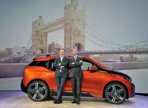 World premiere BMW i3 in London, Great Britain - Dr. Ian Robertson (Hon. DSc.), Member of the Board of Management of BMW AG, Sales and Marketing BMW; Dr. Herbert Diess, Member of the Board of Management of BMW AG, Development (07/2013).