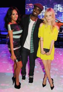 Jade Ewen, Mason Smillie and Laura Whitmore at the world premiere of the BMW i3 in London. (07/2013)