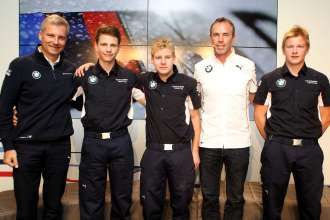 Price giving at the BMW DTM hospitality with Jens Marquardt (GER) BMW Motorsport Director, Dirk Adorf (Formula BMW Talent Cup Manager, Head of Sport), Timo Glock (GER) BMW Team MTEK / 1st Robin Hansson (SE), 2nd  Nico Menzel (DE), 3rd Michael Waldherr (DE) / Sunday - Grand Final of the Formula BMW Talent Cup, Oschersleben (Bode), Germany, On Track Event 6, from 13.09.-15.09.2013 - This image is copyright free for editorial use. © Copyright: BMW AG