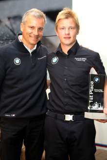 Price giving at the BMW DTM hospitality with Jens Marquardt (GER) BMW Motorsport Director / 1st Robin Hansson (SE) / Sunday - Grand Final of the Formula BMW Talent Cup, Oschersleben (Bode), Germany, On Track Event 6, from 13.09.-15.09.2013 - This image is copyright free for editorial use. © Copyright: BMW AG