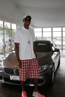 Former Chicago Bulls All-Star Scottie Pippen stops by the BMW 18th Hole Pavilion on Thursday, September 12 at the 2013 BMW Championship in Lake Forest, IL. (Photo by Ian Yelton/WGA Photo)