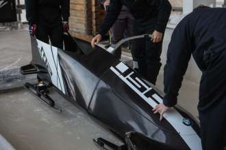 BMW's second two-man bobsled prototype on the track at the Olympic Sports Complex at Mt. Van Hoevenberg in Lake Placid, NY. December 20, 2012. (Photo, Todd Bissonette)