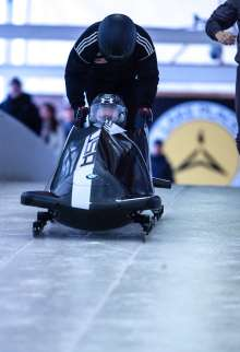 US bobsledder Steven Holcomb (front) and his breakman test BMW's second two-man bobsled prototype at the Olympic Sports Complex at Mt. Van Hoevenberg in Lake Placid, NY. December 20, 2012. (Photo, Todd Bissonette)