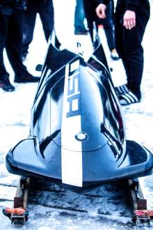 BMW's second two-man bobsled prototype at the Olympic Sports Complex at Mt. Van Hoevenberg in Lake Placid, NY. December 20, 2012. (Photo, Todd Bissonette).