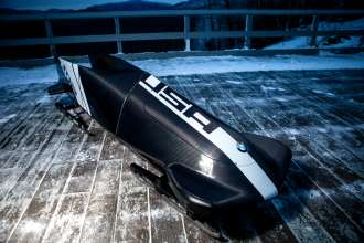 BMW's second two-man bobsled prototype at the Olympic Sports Complex at Mt. Van Hoevenberg in Lake Placid, NY on December 20, 2012.  (Photo, Todd Bissonette)