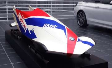 BMW's first prototype bobsled on display at BMW's North American Headquarters in Woodcliff Lake, NJ. January 5, 2013.  (Photo/BMW)