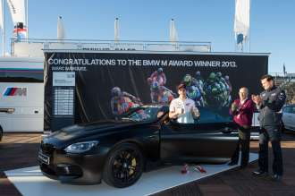BMW M Award 2013: Marc Marquez wins the BMW M6 Coupé. Marc Marquez, Honda Repsol rider and 2013 MotoGP World Champion, Carmelo Ezpeleta, CEO of Dorna Sports, and Thomas Schemera, Director Sales & Marketing BMW M Division © BMW AG (11/2013)