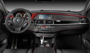 BMW X6 M - Interior, BMW Individual Full Merino leather Black - Interior trim, BMW Individual Piano Finish Black with edition specific plaque - BMW Individual instrument panel finished in leather in Bi-Color Black/Mugello Red with contrast stitching in Mugello Red - Design Edition 2013. (11/2013) © BMW GROUP