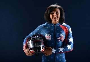 WEST HOLLYWOOD, CA - APRIL 27:  Bobsledder Elana Meyers poses for a portrait during the USOC Portrait Shoot on April 27, 2013 in West Hollywood, California.  (Photo by Harry How/Getty Images)