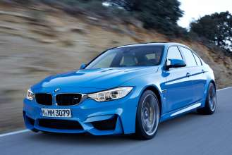 "The all-new BMW M3 Sedan/Saloon, Yas Marina Blue Metallic. 19"" M Light Alloy Wheels Double-Spoke Style 437 M, Ferric Grey, Forged and Polished, M Carbon Ceramic Brake. © BMW AG 12/2013"