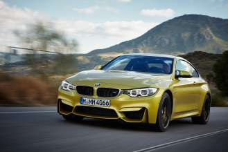 "The all-new BMW M4 Coupé, Austin Yellow Metallic. 19"" M Light Alloy Wheels Double-Spoke Style 437 M, Jet Black, Forged and Polished, M Carbon Ceramic Brake. © BMW AG 12/2013"