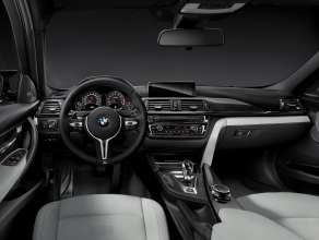 The all-new BMW M3 Sedan/Saloon, Interior. Upholstery Full Leather Merino Silverstone. Interior Trim Finishers Carbon Fibre. Highlight Trim Finishers Black Chrome. 12/2013 © BMW AG