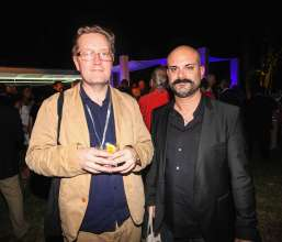 MIAMI BEACH, FL - DECEMBER 04: (L-R) Oggian Ward and Mark Rappole attend the Jeff Koons BMW Art Car US premiere snd Andy Warhol BMW Art Car Exhibition in the Miami Beach Botanical Gardens as part of Art Basel on December 4, 2013 in Miami Beach, Florida. (Photo by Donald Bowers/Getty Images for BMW)