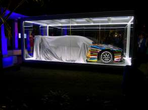 Supermodel Karolína Kurková unveils the North American premiere of the BMW Art Car by Jeff Koons (BMW M3 GT2) on Wednesday, December 4, 2013 in the Miami Beach Botanical Gardens as part of Art Basel Miami Beach 2013.