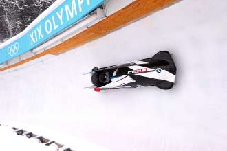 BMW's two-man bobsled racing at the Utah Olympic Park in Park City, UT in December 2013. (01/2014)