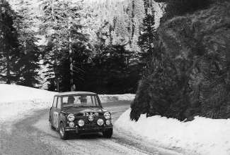 Paddy Hopkirk in the Mini Cooper at the Rallye Monte Carlo 1964 (01/2014)
