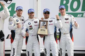 23.01.2014 to 26.01.2014, Tudor United Sportscar Championship 2014, Rolex 24 at Daytona, Daytona International Speedway, Daytona Beach, FL (USA). Bill Auberlen (USA), Andy Priaulx (GBR), Joey Hand (USA), Maxime Martin (BEL), No 55, BMW Team RLL, BMW Z4 GTE. 2nd Place GTLM Class. Podium Celebrations. This image is Copyright free for editorial use © BMW AG