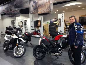 Trent Hall, owner of BMW Motorcycles of New Orleans, in his new BMW showroom. (01/2014)