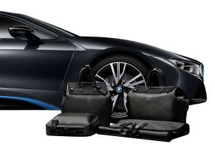 "The tailor-made Louis Vuitton luggage set for the BMW i8 made from carbon fibre: small ""Weekender PM i8"", big ""Weekender GM i8"", hardshell  ""Business Case i8"",""Garment Bag i8"". (02/2014)"