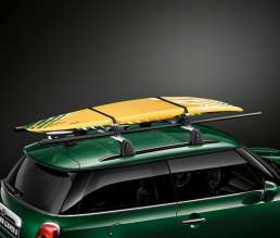 Surfboard holder and lockable roof rack base support system. (03/2014)