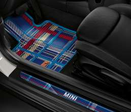 Textile mat Speedwell Blue and LED-doorsill-finishers Speedwell Blue. (03/2014)