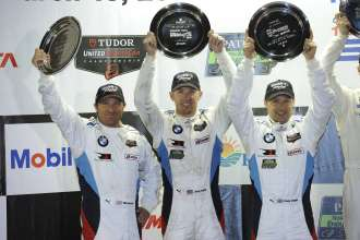 12.03.2014 to 15.03.2014, Tudor United Sportscar Championship 2014, Mobil 1 Twelve Hours of Sebring fueled by Fresh from Florida, Sebring International Speedway, Sebring, FL (USA). Bill Auberlen (USA), Andy Priaulx (GBR), Joey Hand (USA), No 55, BMW Team RLL, BMW Z4 GTE. Podium Celebrations. 3rd Place GTLM Class. This image is Copyright free for editorial use © BMW AG
