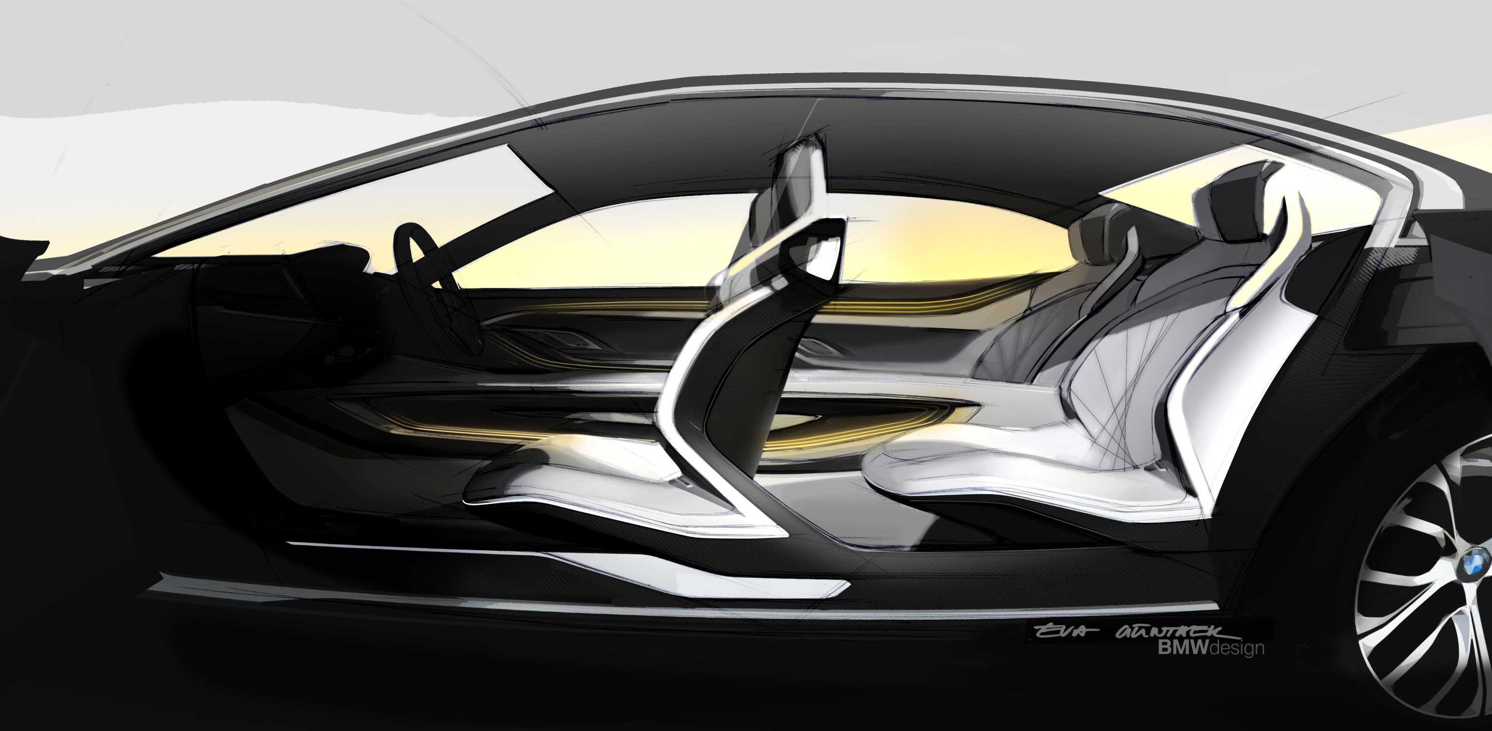 bmw vision future luxury sketch interior side view 04 2014. Black Bedroom Furniture Sets. Home Design Ideas