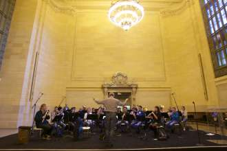 The Munich Philharmonic Orchestra performed a public rehearsal for a BMW concert in Grand Central Terminal in New York City on Thursday, April 10, 2014.
