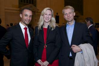 Nicolas Brown of BMW (left), Annette Lux of Luxreisen and Christian Beuke, Director of Marketing Munich Philharmonic at a cocktail reception before a BMW concert by the Munich Philharmonic in Grand Central Station, New York City on Thursday, April 10, 2014.