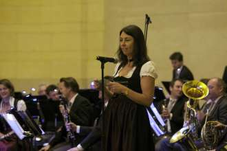 Lisa Outred, Oboist of the Munich Philharmonic Orchestra narrates through the program of a BMW concert in Grand Central Terminal in New York City on Thursday, April 10, 2014.