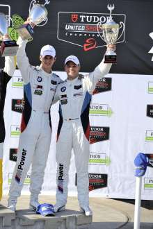 11.04.2014 to 12.04.2014, Tudor United Sportscar Championship 2014, Tequila Patron Sports Car Showcase, Long Beach, CA (USA). Dirk Müller (DEU), John Edwards (USA), No 56, BMW Team RLL, BMW Z4 GTE. 2nd Place GTLM. Podium Celebrations. This image is Copyright free for editorial use © BMW AG