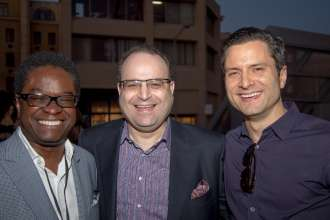 Dee Kerrison, Robert Galstian and Seth Fonti at a BMW reception at Paris Photo LA on the evening of April 24, 2014 at Paramount Pictures Studios.