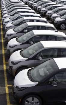 Hundreds of the all new, fully electric BMW i3 vehicles are ready for customer delivery at the Port Jersey Vehicle Distribution Center in Jersey City, New Jersey on Friday, May 2, 2014. (05/2014)(JimSulley/newscast)