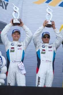 02.05.2014 to 04.05.2014, Tudor United Sportscar Championship 2014, Continental Tire Monterey Grand Prix, Mazda Raceway Laguna Seca, CA (USA). Bill Auberlen (USA), Andy Priaulx (GBR), No 55, BMW Team RLL, BMW Z4 GTE. 2nd GTLM Class. Podium and post-race celebrations. This image is Copyright free for editorial use © BMW AG