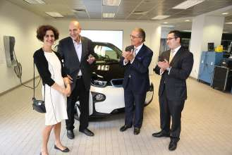 BMW delivered the first all-electric BMW i3 in the U.S. to Boston resident and Tufts University professor of practice Charles Rabie at the BMW of Boston dealership on Friday, May 2, 2014.