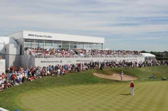 The BMW Owners' Pavilion at the 2013 BMW Championship at Conway Farms in Lake Forest, IL.  BMW owners were invited to enter the private BMW Owners' Pavilion, where owners relaxed in an air-conditioned environment while enjoying premium concessions. The BMW Owners' Pavilion also offered luxury grandstand seating with spectacular views of the course to watch the top players in the world compete in the BMW Championship. (05/2014)