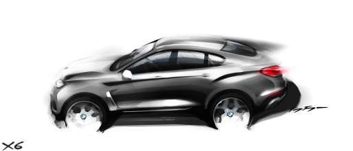 The new BMW X6. Sketch. Exterior Design. Side view (06/2014).