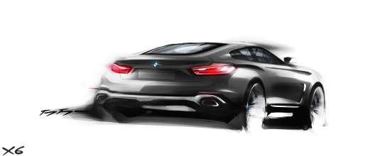 The new BMW X6. Sketch. Exterior Design. Three quarter rear (06/2014).