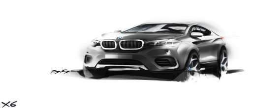The new BMW X6. Sketch. Exterior Design. Three quarter front (06/2014).