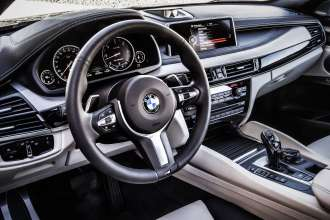 The new BMW X6 M50d Bicolour Leather Nappa with extended contents Ivory White/Black - Interior design Pure Extravagance Ivory White (06/14).