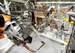 Robots welding the side frame for the new 5-door MINI in Plant Oxford's bodyshop.