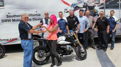 Marisol Martinez lucky winner of SoCal BMW Motorcycle Dealer Group Sweepstakes. (072014)